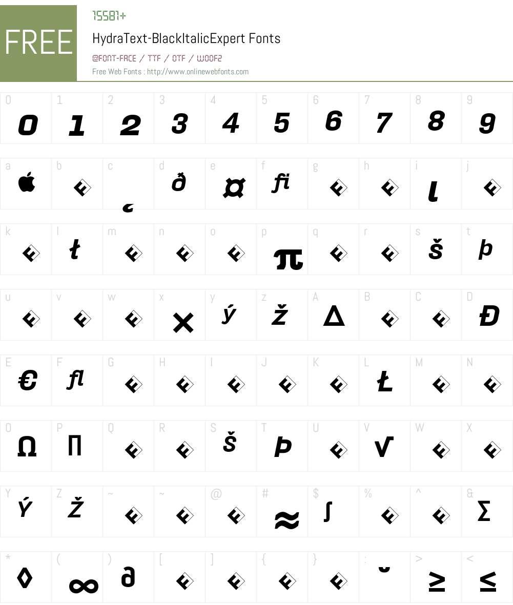 HydraText-BlackItalicExpert Font Screenshots
