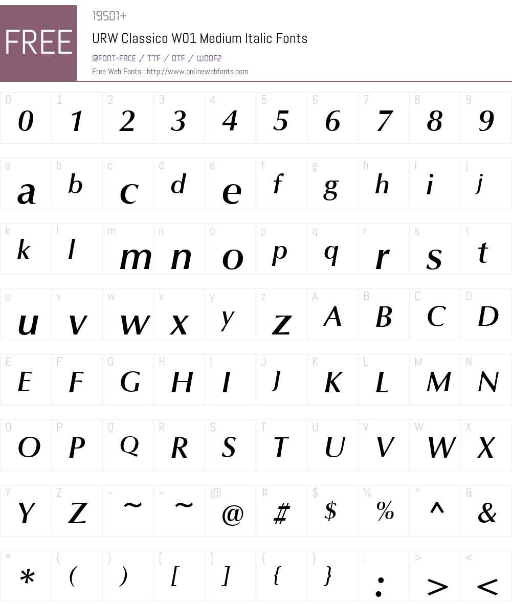 URWClassicoW01-MediumItalic Font Screenshots