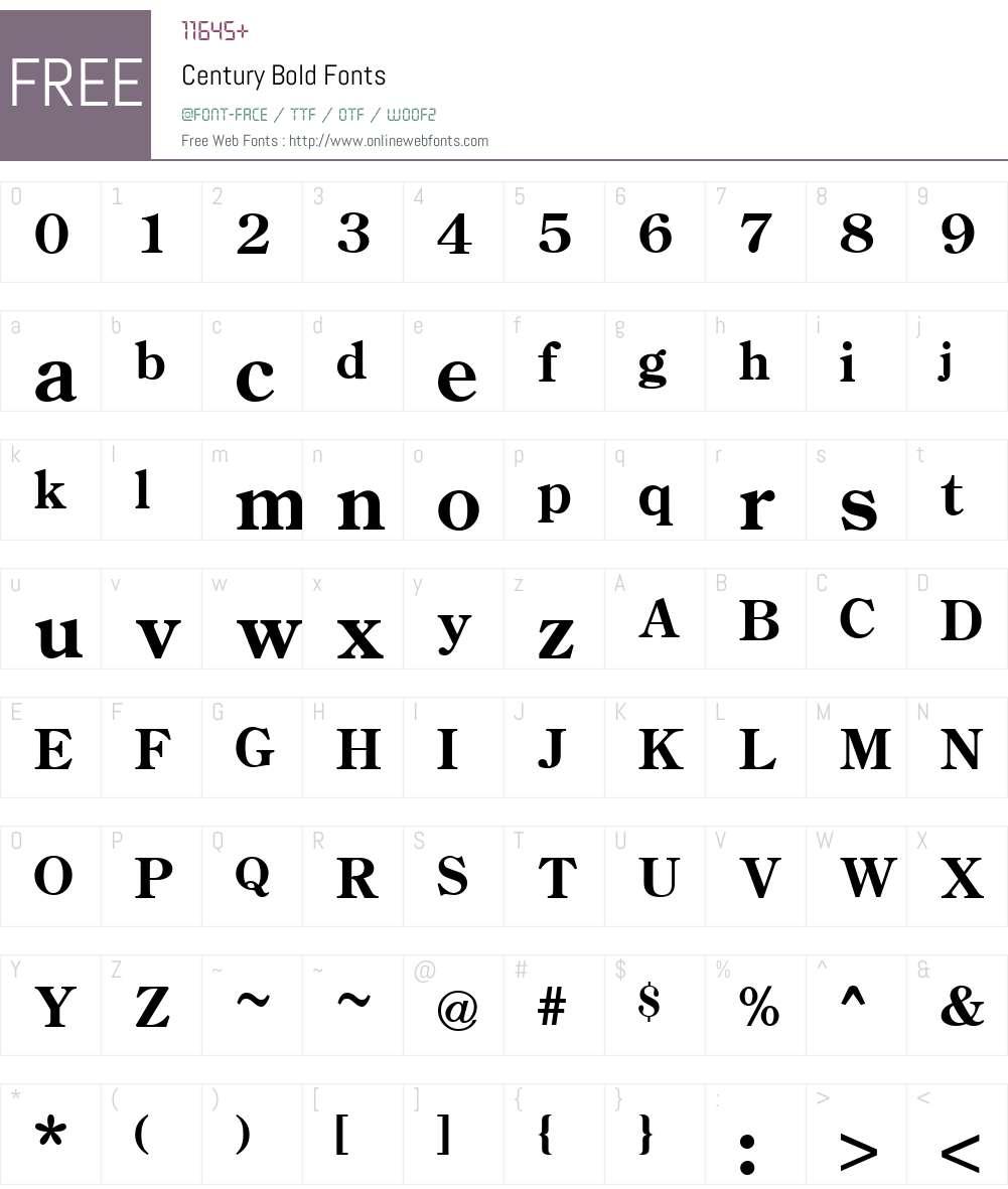 Century Font Screenshots
