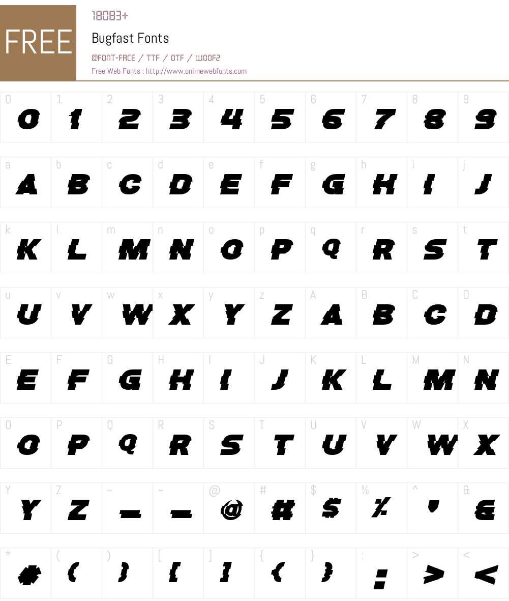 Bugfast Font Screenshots