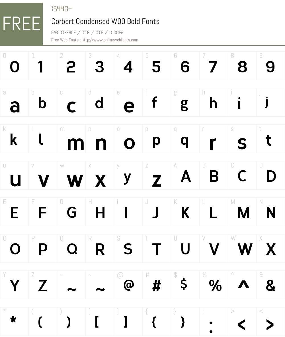 CorbertCondensedW00-Bold Font Screenshots