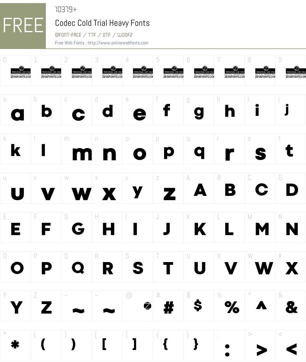 Codec Cold Trial Font Screenshots