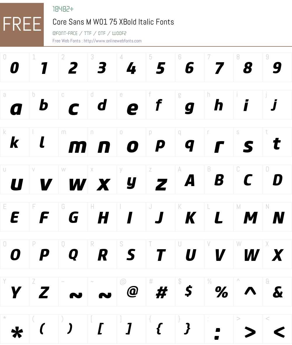 CoreSansMW01-75XBoldItalic Font Screenshots