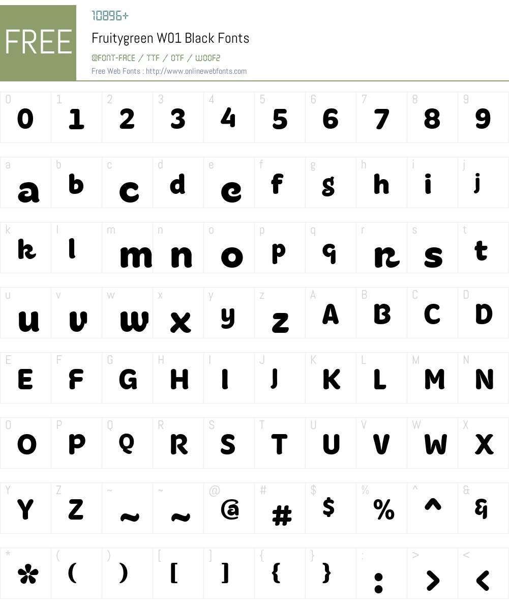 FruitygreenW01-Black Font Screenshots