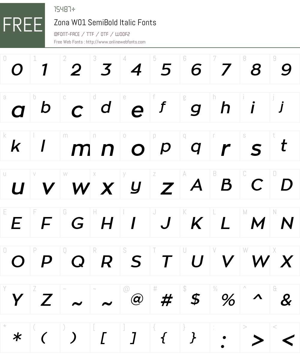 ZonaW01-SemiBoldItalic Font Screenshots