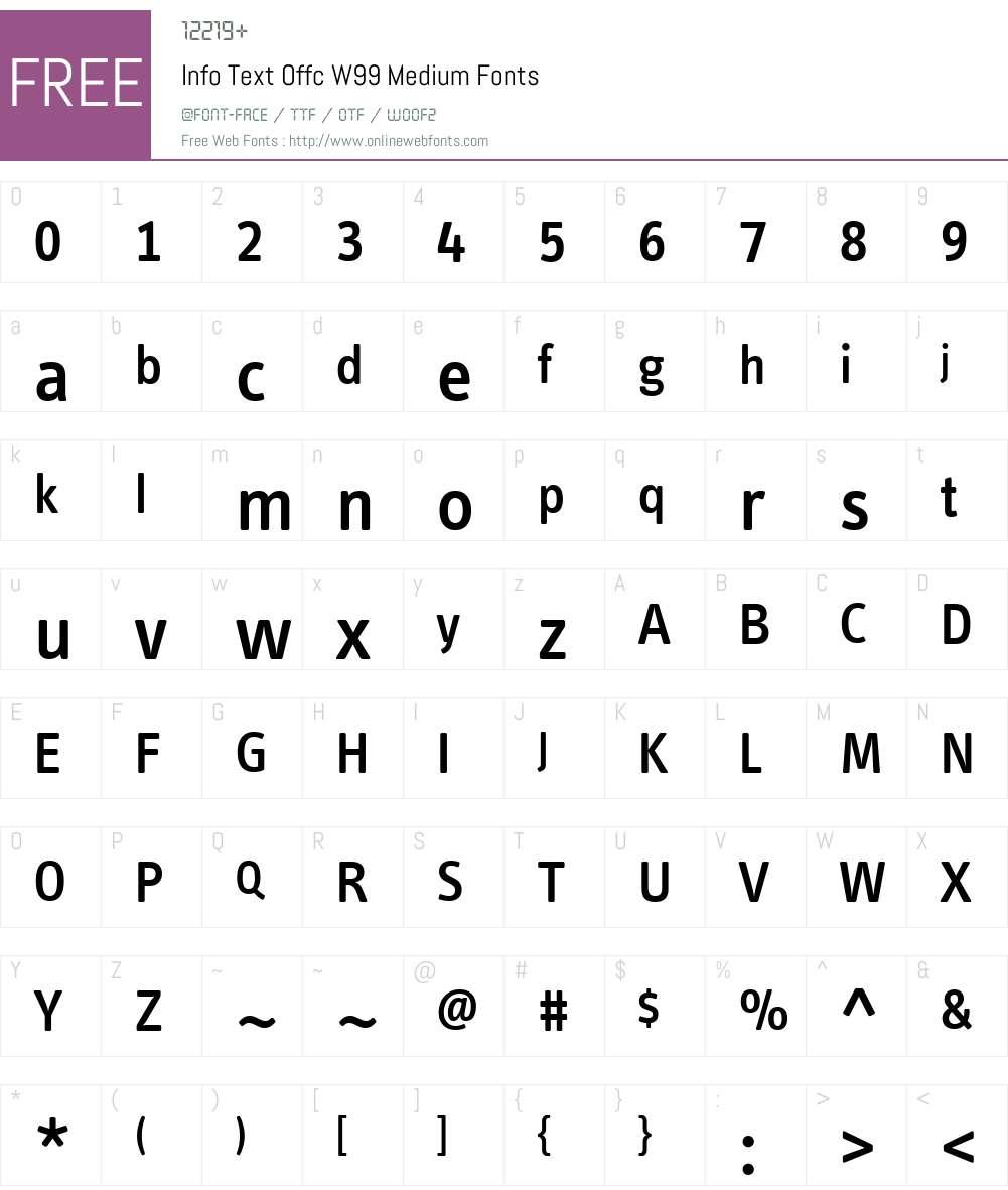 InfoTextOffcW99-Medium Font Screenshots