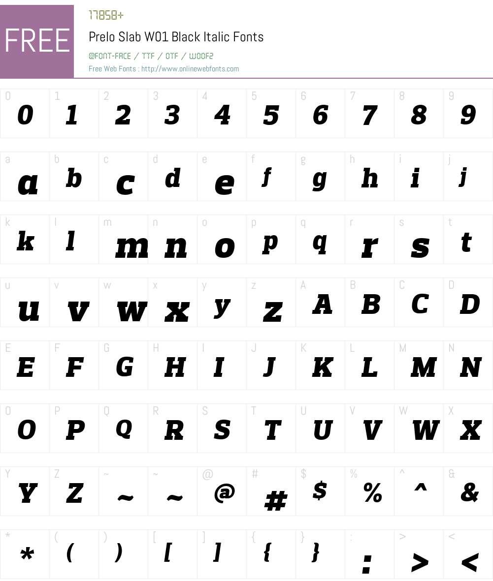 PreloSlabW01-BlackItalic Font Screenshots