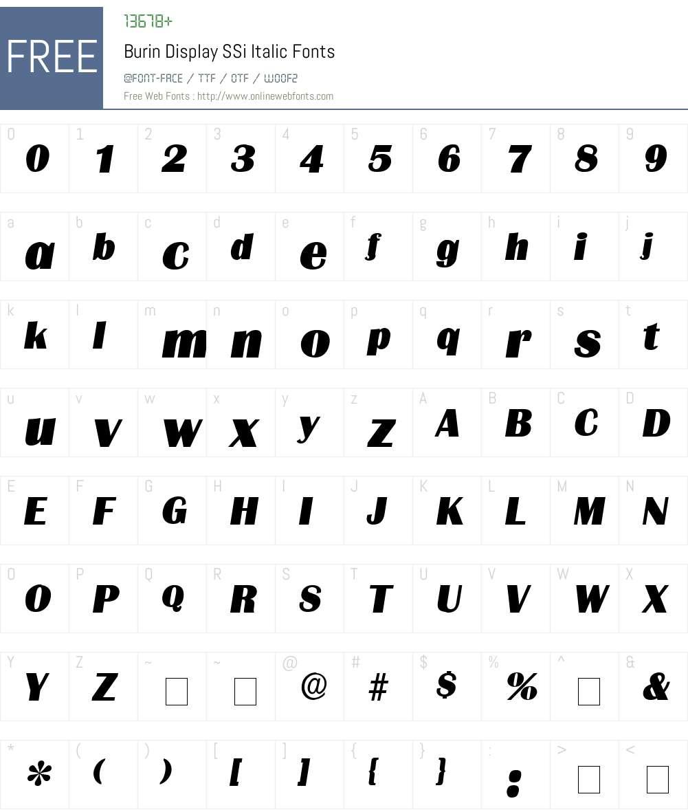 Burin Display SSi Font Screenshots