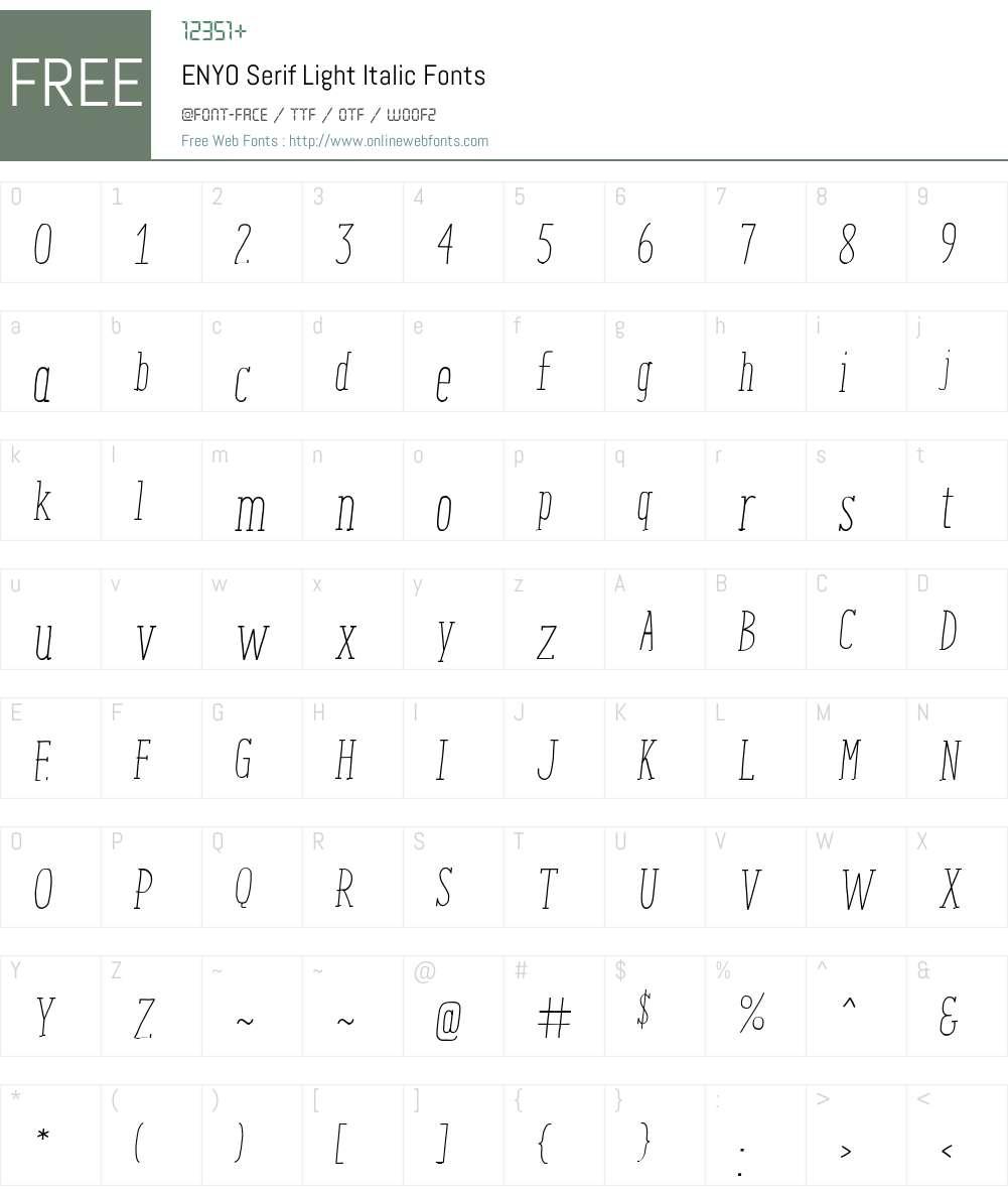 ENYO Serif Light Italic Font Screenshots