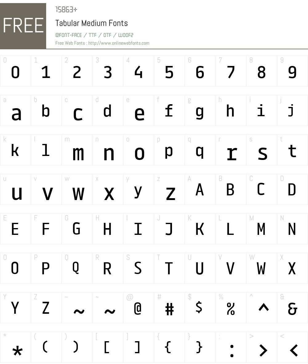 Tabular-Medium Font Screenshots