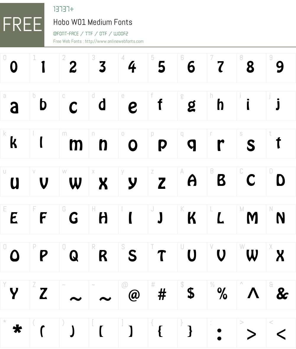 HoboW01-Medium Font Screenshots
