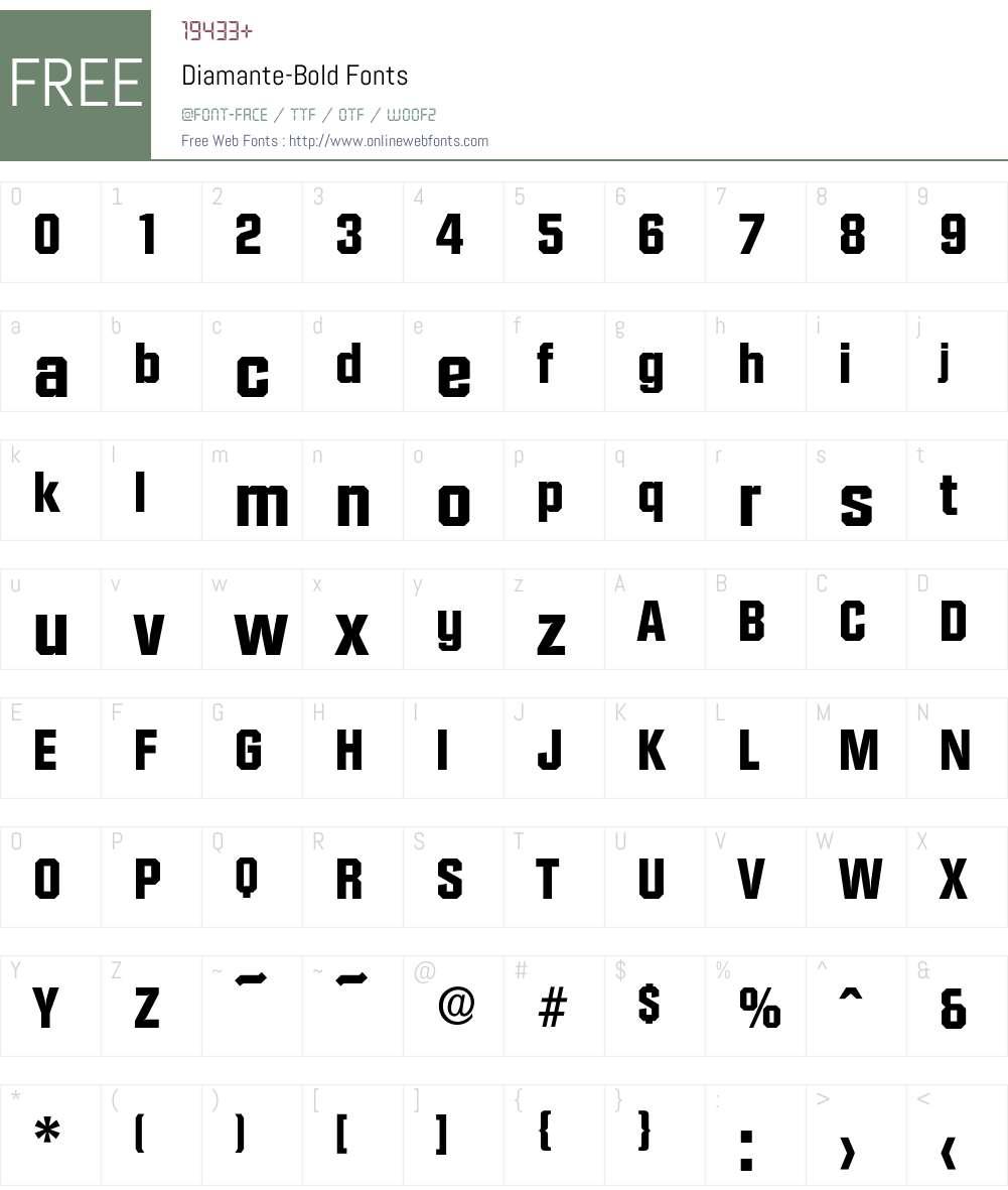Diamante-Bold Font Screenshots