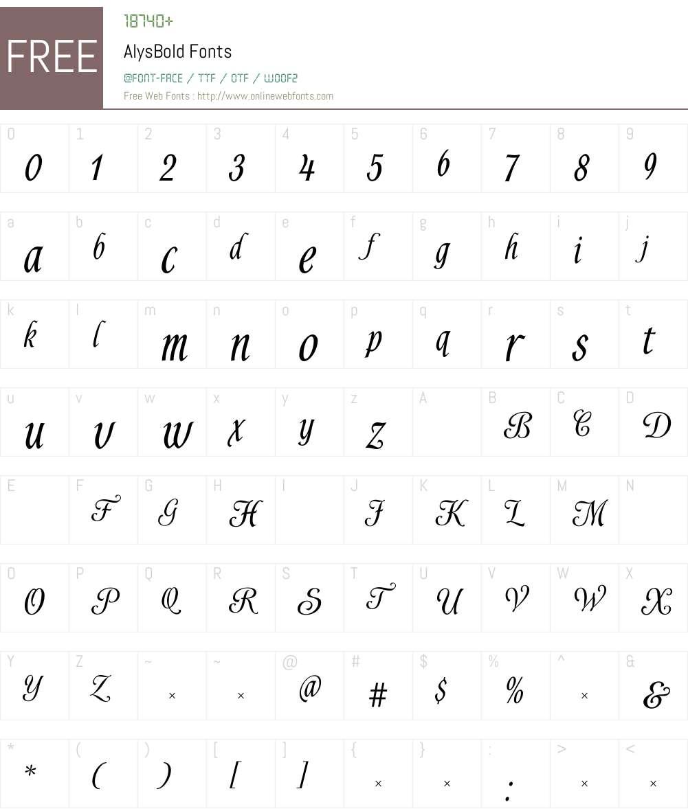 AlysBold Font Screenshots
