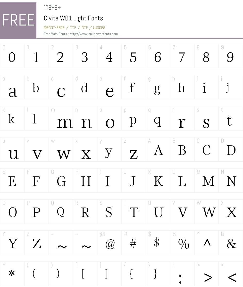 CivitaW01-Light Font Screenshots