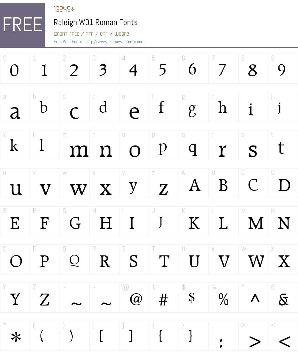 RaleighW01-Roman Font Screenshots