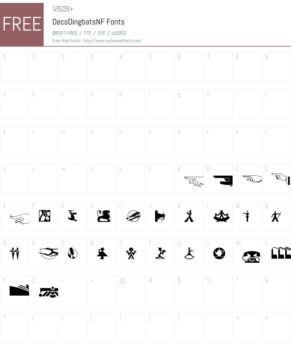 Deco Dingbats NF Font Screenshots