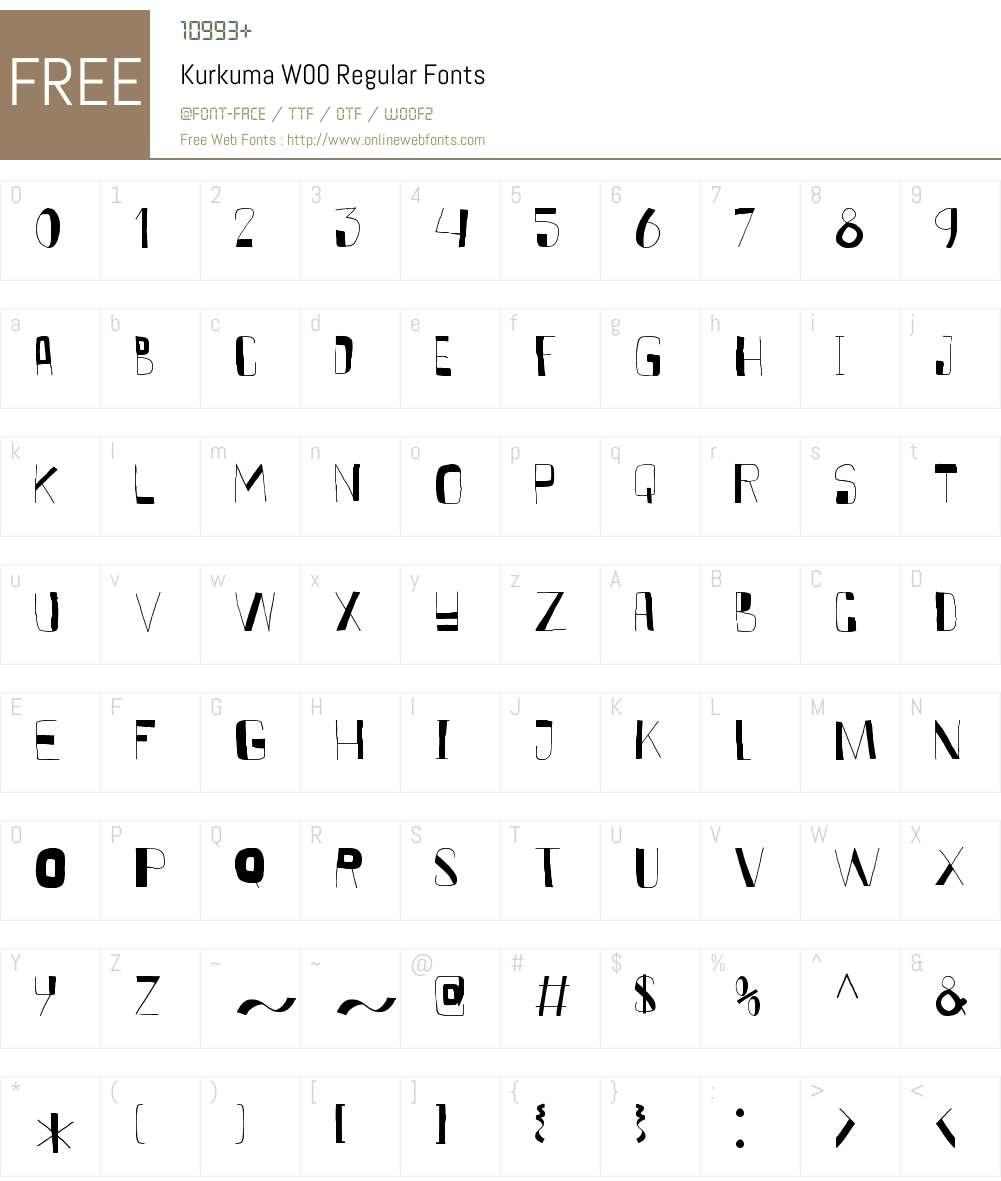 KurkumaW00-Regular Font Screenshots