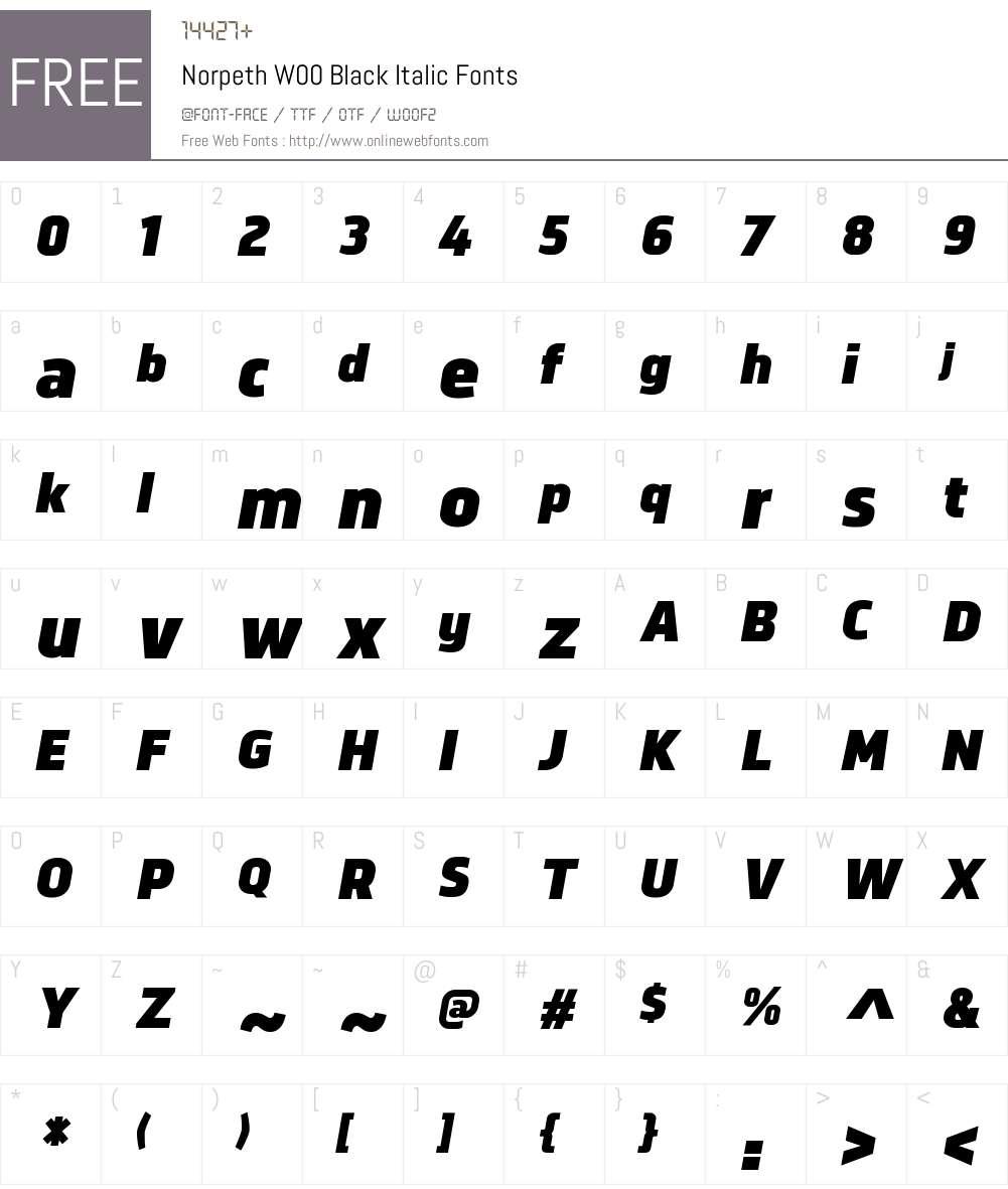 NorpethW00-BlackItalic Font Screenshots