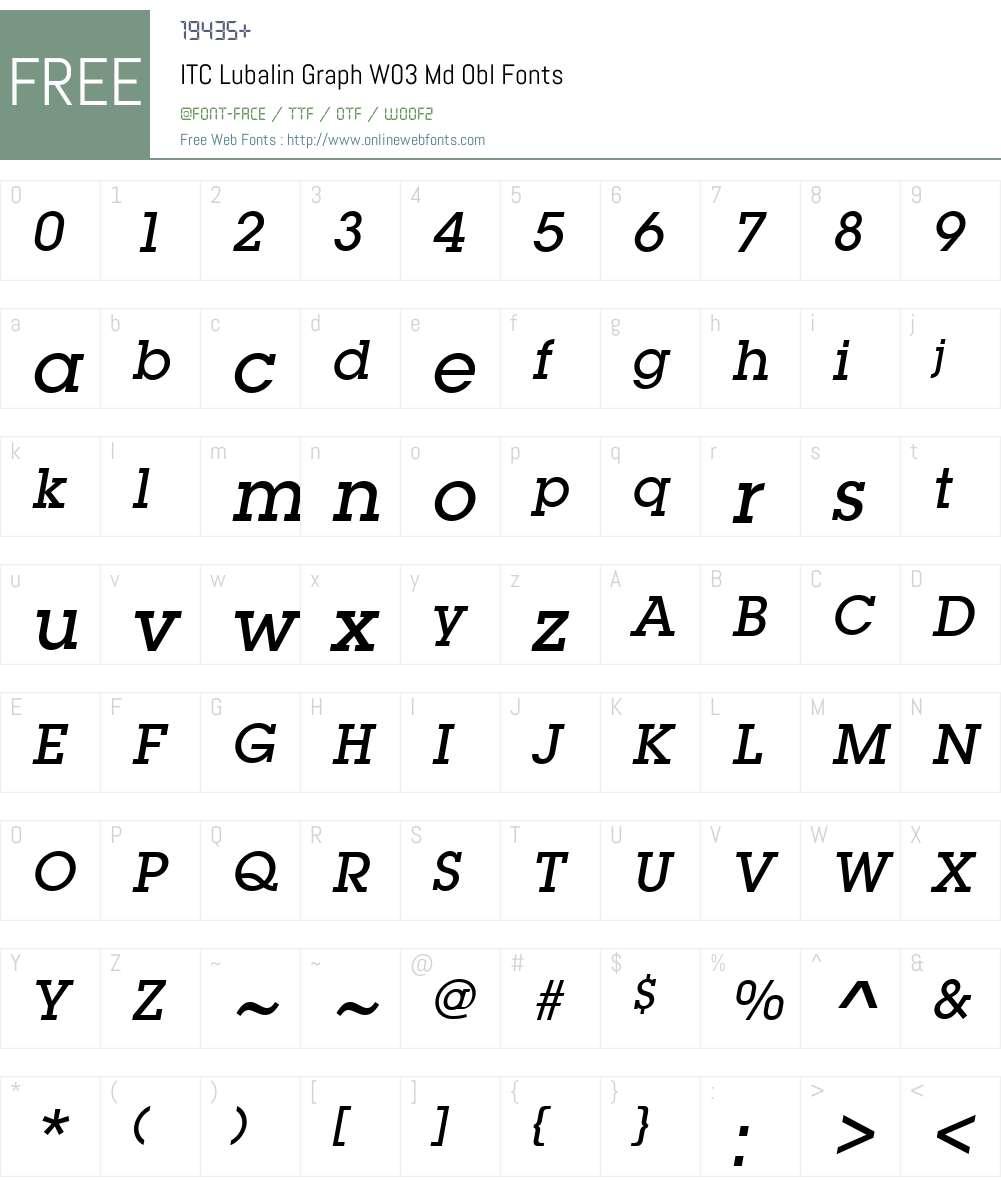ITC Lubalin Graph Font Screenshots