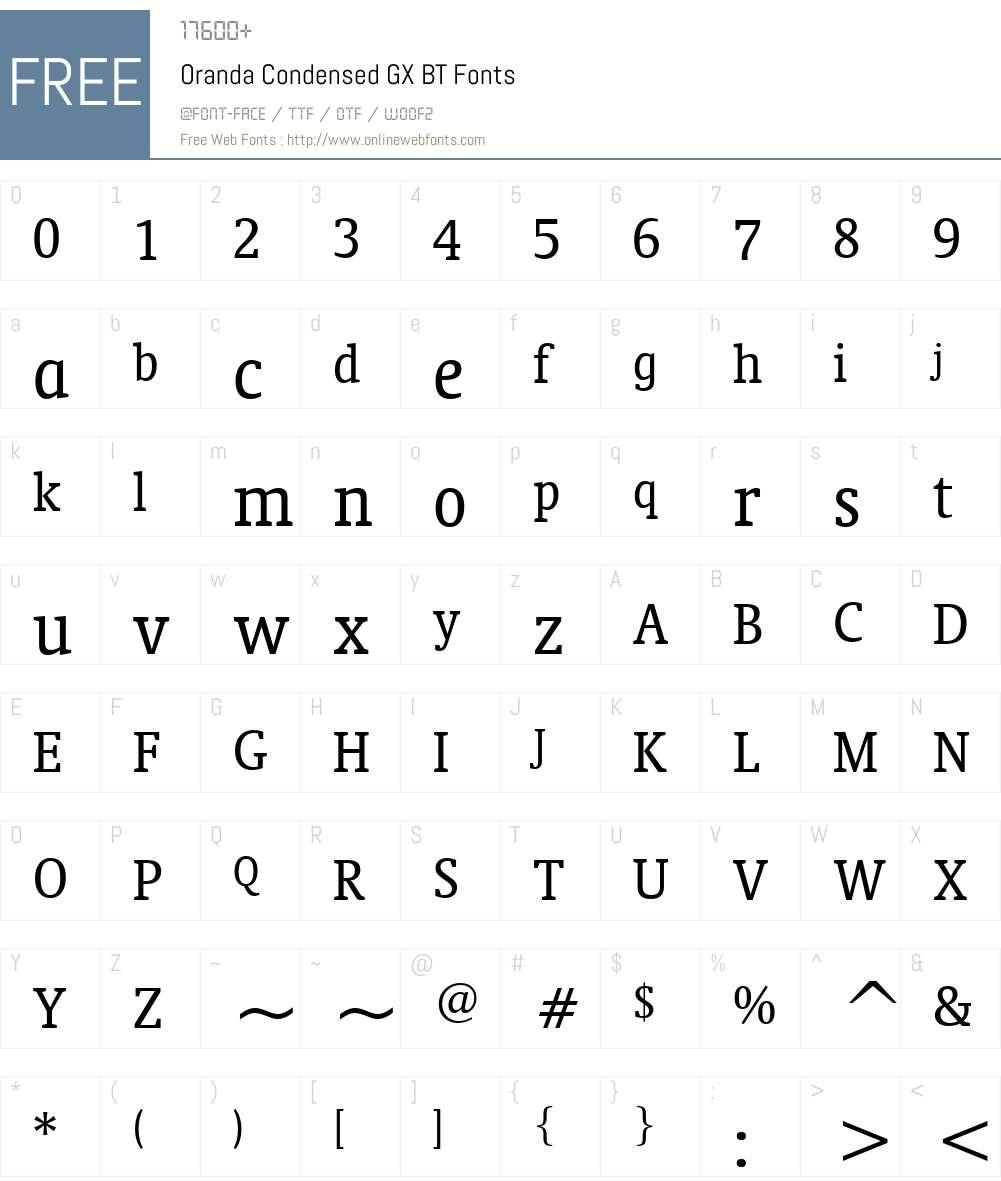 Oranda Condensed GX BT Font Screenshots