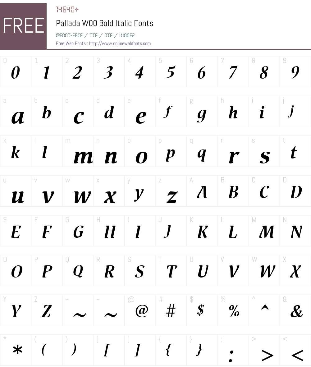 PalladaW00-BoldItalic Font Screenshots