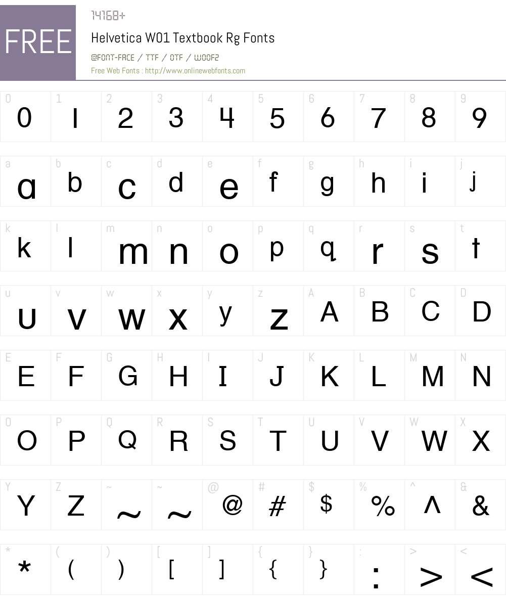 HelveticaW01-TextbookRg Font Screenshots
