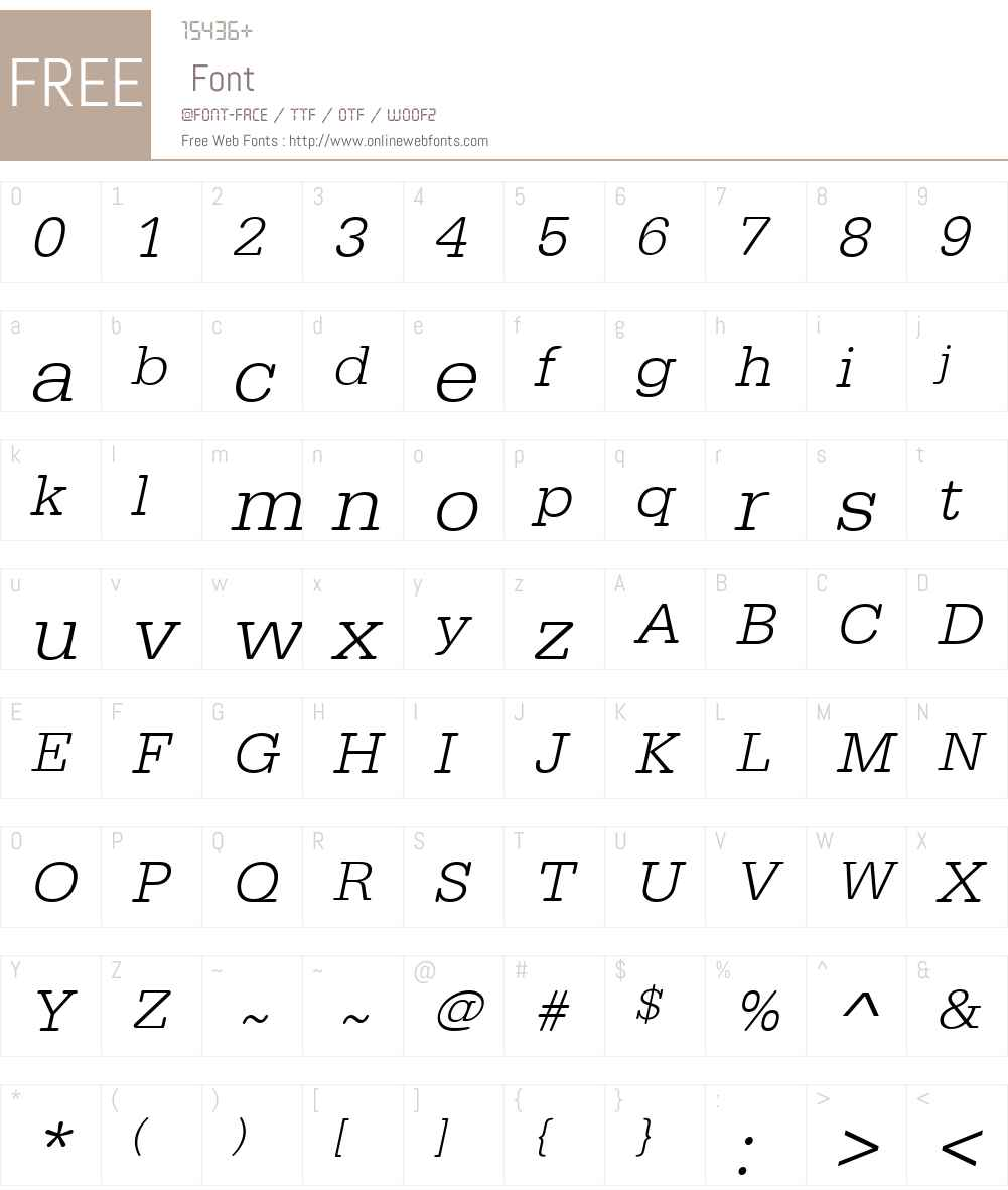 URWTypewriterTLigWid Font Screenshots