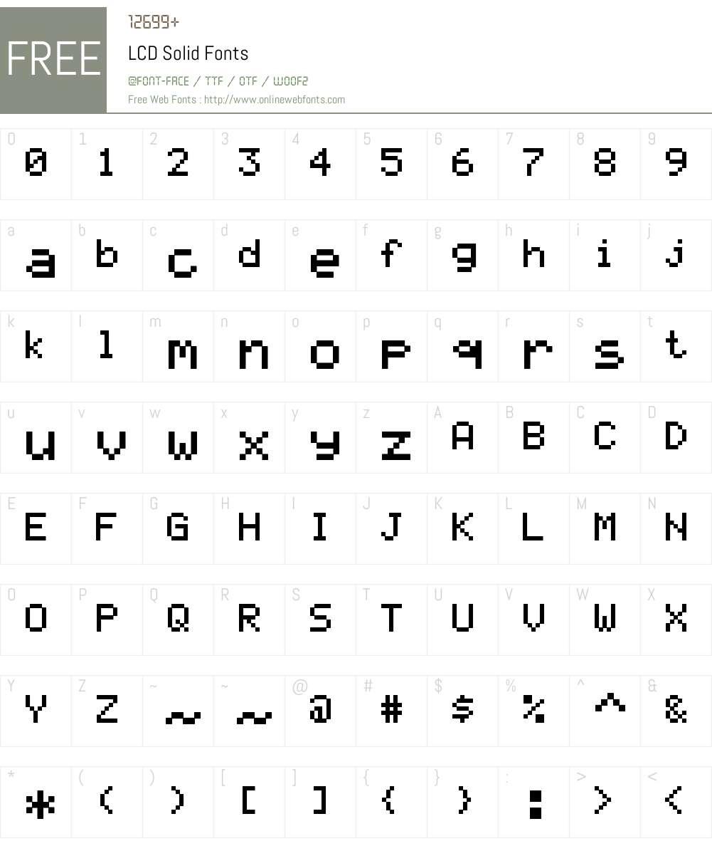 LCD Solid Font Screenshots