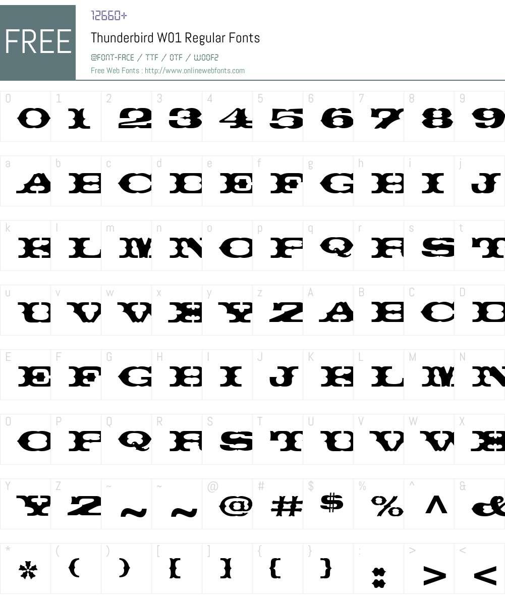 ThunderbirdW01-Regular Font Screenshots