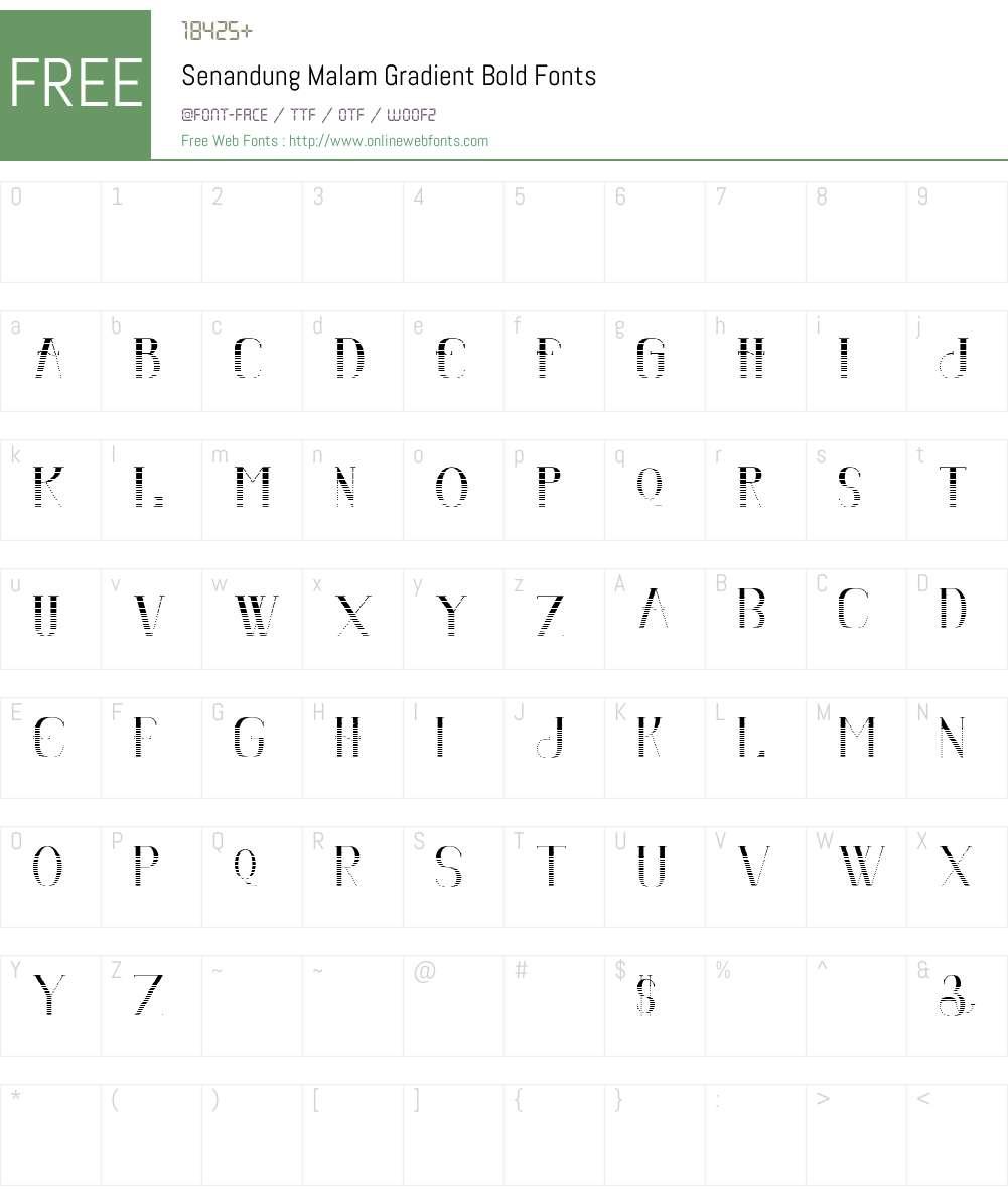 Senandung Malam Gradient Font Screenshots