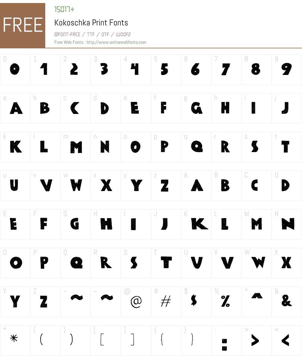 Kokoschka-Print Font Screenshots