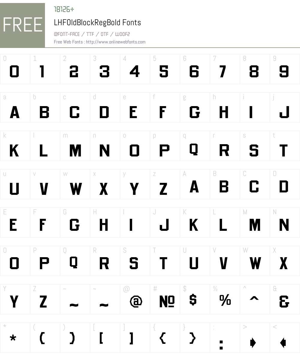LHFOldBlockRegBold Font Screenshots