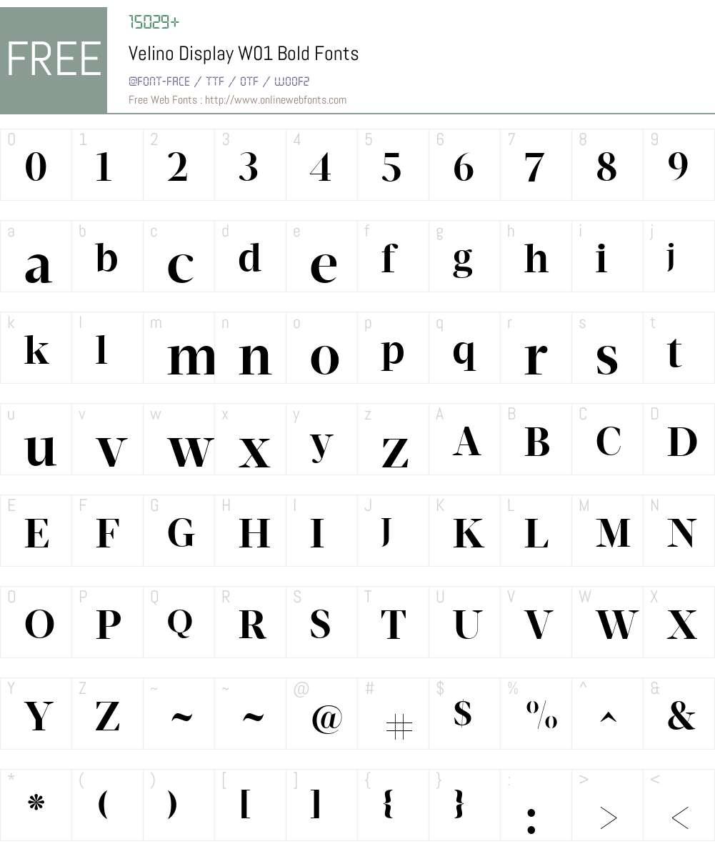 VelinoDisplayW01-Bold Font Screenshots