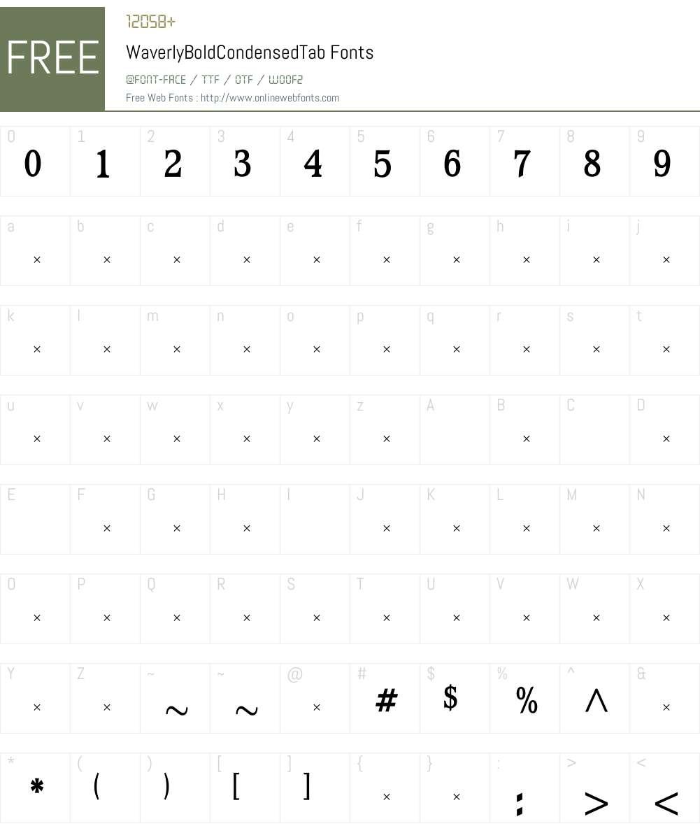 WaverlyBoldCondensedTab Font Screenshots