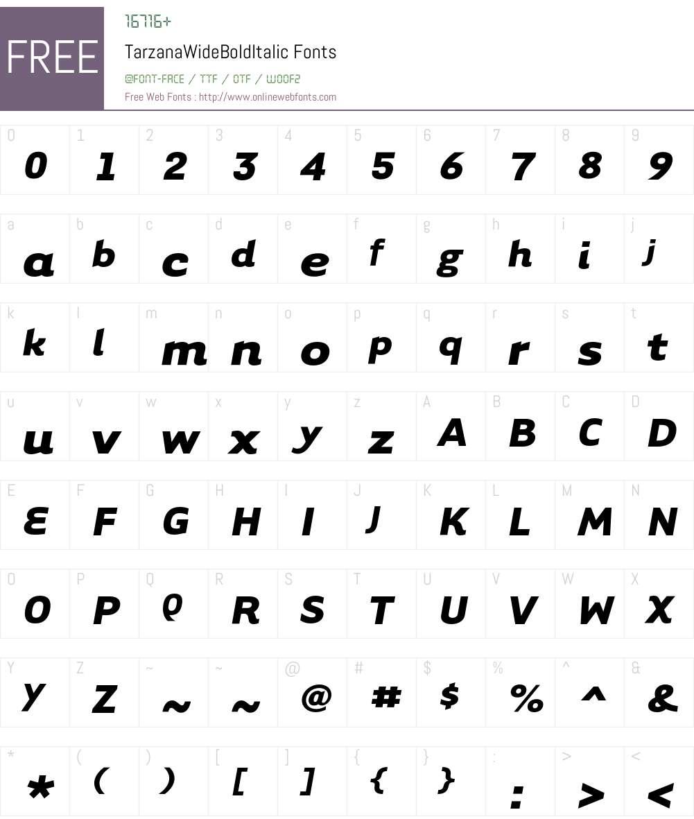 TarzanaWide Font Screenshots