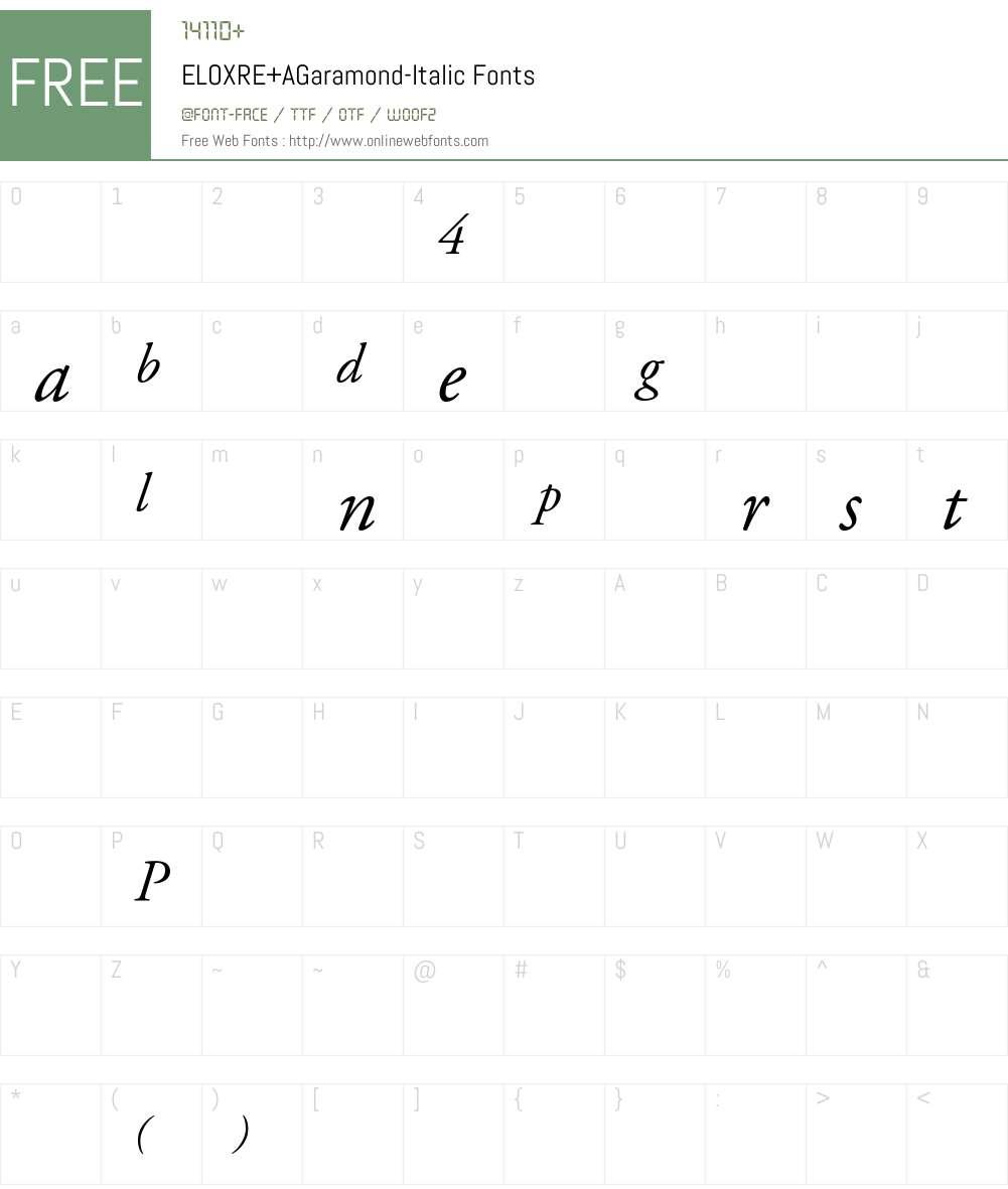 ELOXRE+AGaramond-Italic Font Screenshots