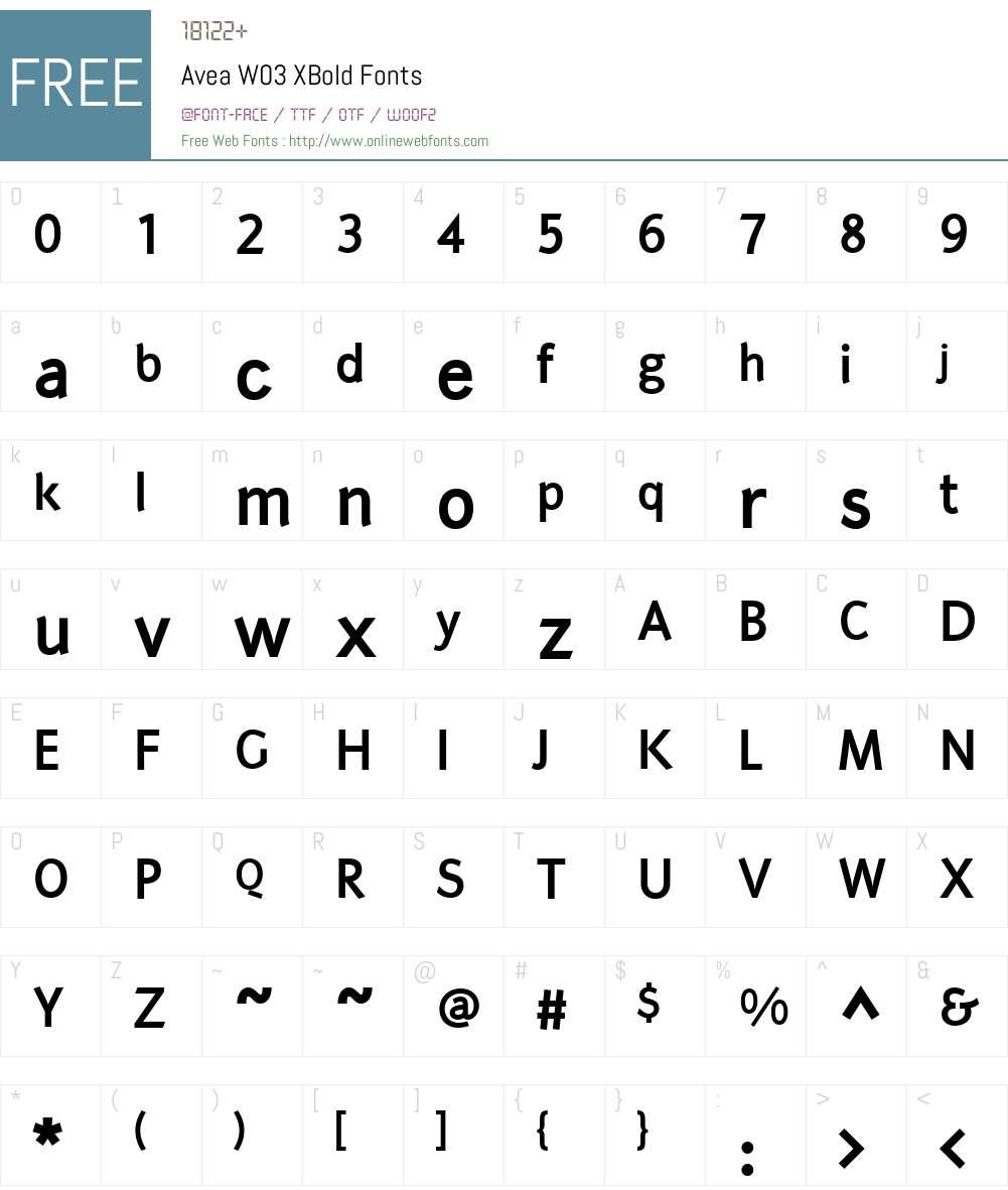 Avea Font Screenshots