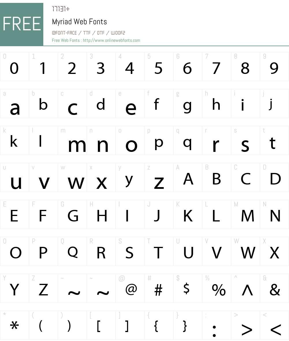 Myriad Web Font Screenshots