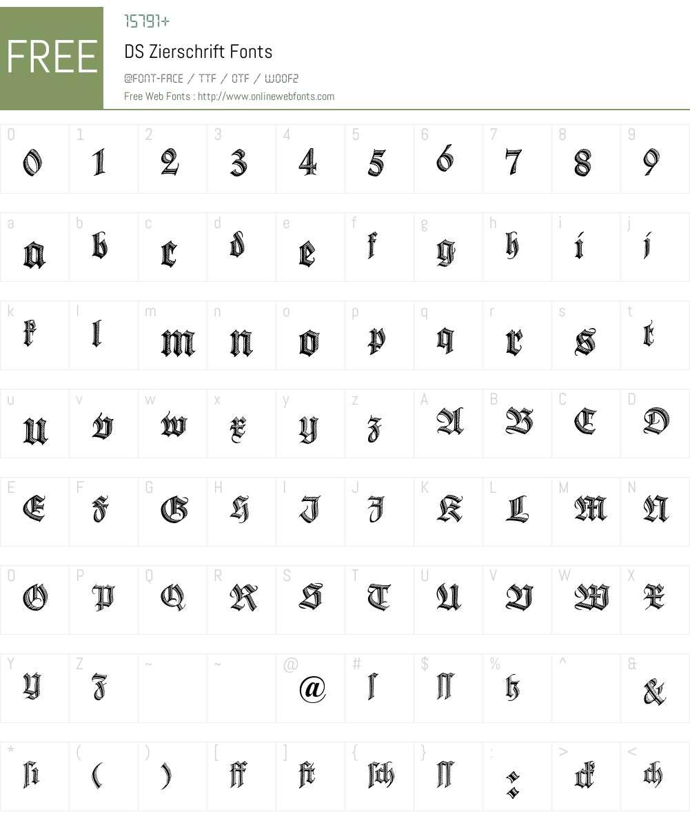 DS Zierschrift Font Screenshots