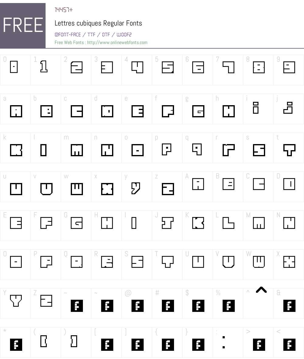 Lettres cubiques Font Screenshots