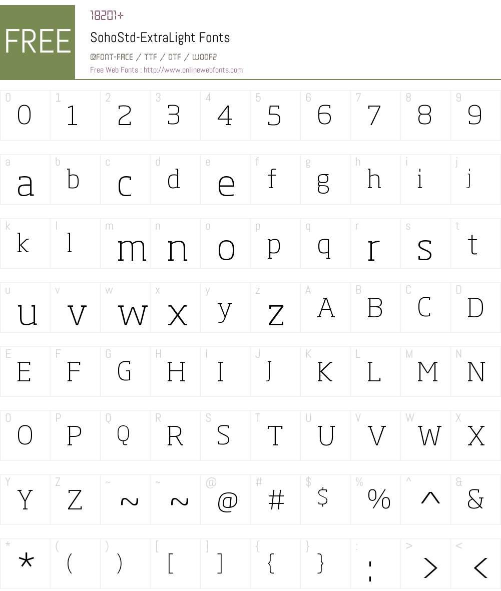 Soho Std ExtraLight Font Screenshots