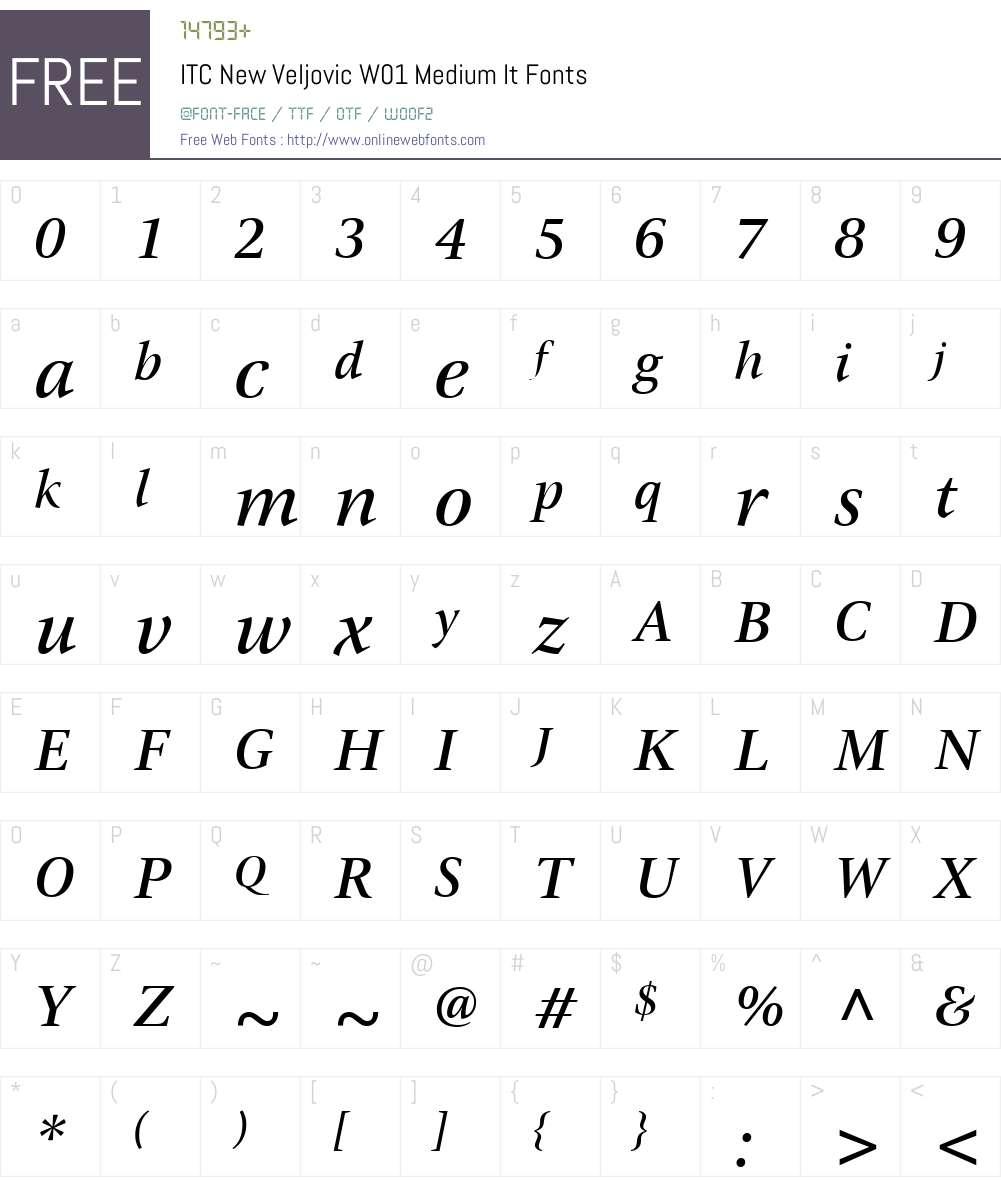 ITCNewVeljovicW01-MediumIt Font Screenshots