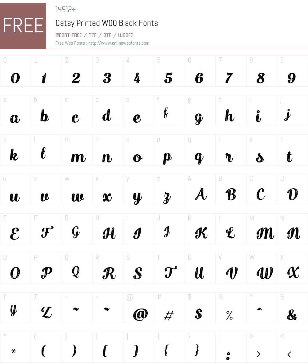 Catsy Printed Font Screenshots