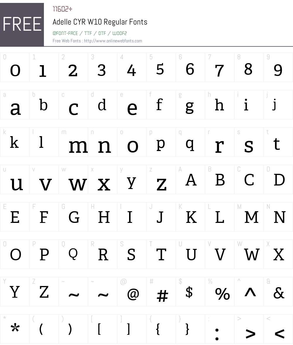AdelleCYRW10-Regular Font Screenshots