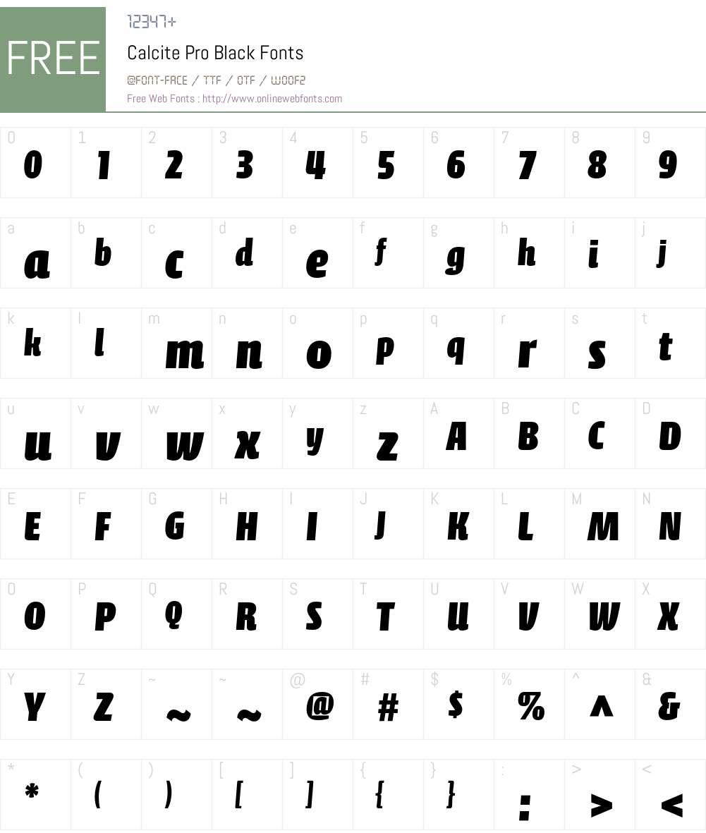 Calcite Pro Font Screenshots