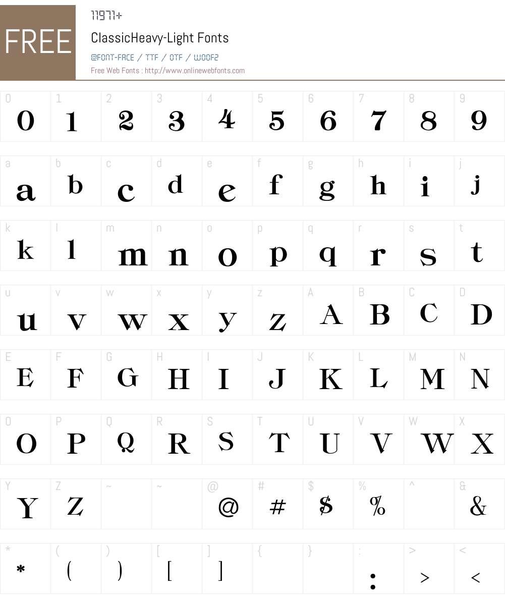 ClassicHeavy-Light Font Screenshots