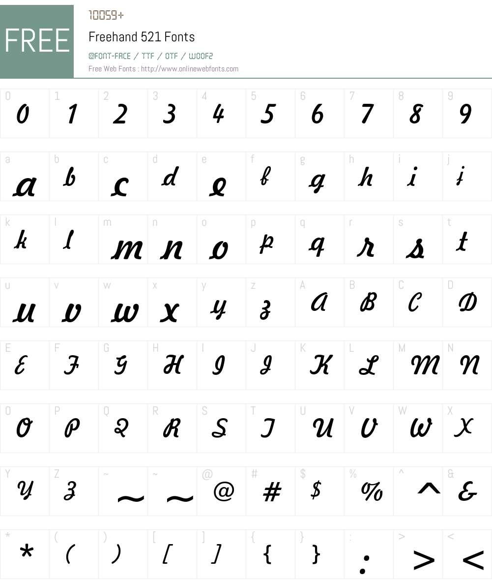 Freehand 521 Font Screenshots