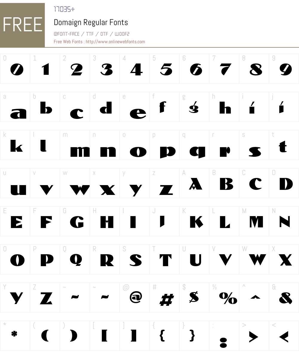 Domaign Font Screenshots