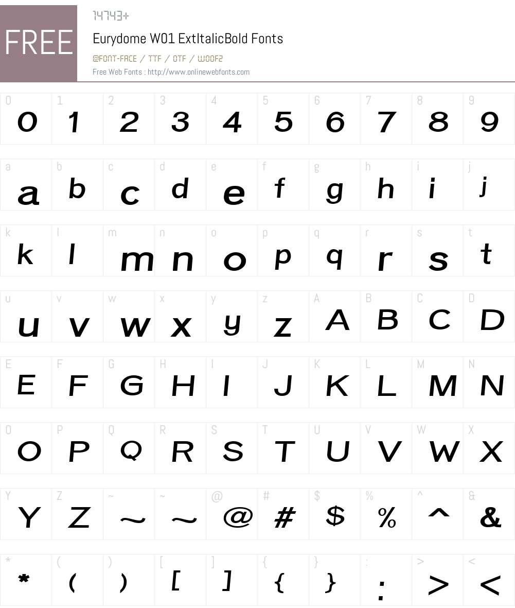 EurydomeW01-ExtItalicBold Font Screenshots