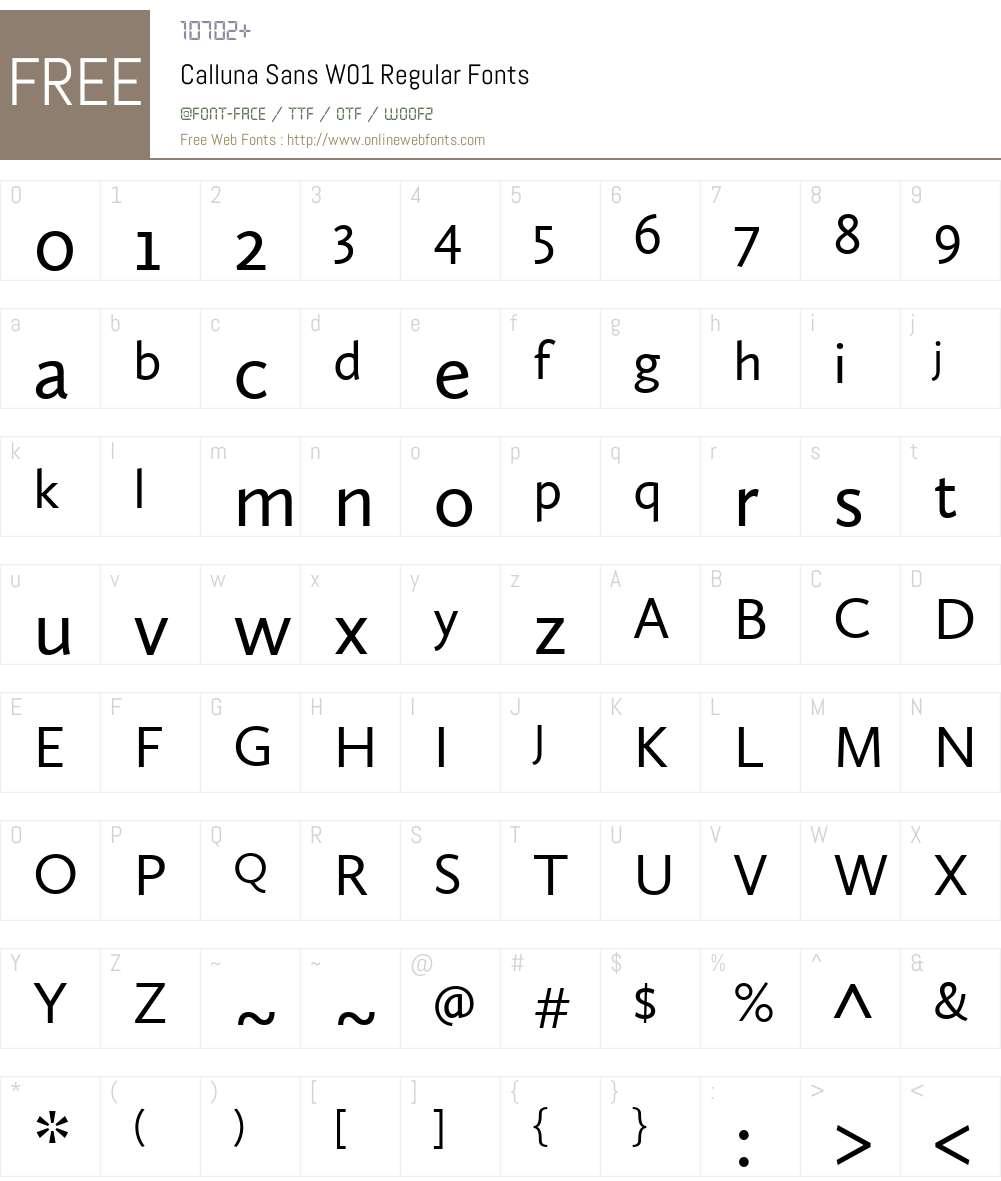 CallunaSansW01-Regular Font Screenshots